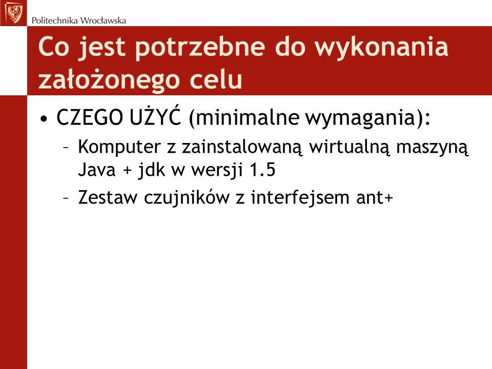 Co jest potrzebne do wykonania założonego celu CZEGO UŻYĆ (minimalne wymagania): –Komputer z zainstalowaną wirtualną maszyną Java + jdk w wersji 1.5 –Zestaw czujników z interfejsem ant+