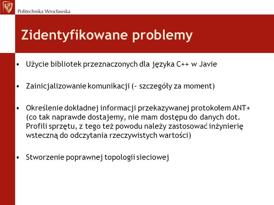 Zidentyfikowane problemy Użycie bibliotek przeznaczonych dla języka C++ w Javie Zainicjalizowanie komunikacji (– szczegóły za moment) Określenie dokładnej informacji przekazywanej protokołem ANT+ (co tak naprawde dostajemy, nie mam dostępu do danych dot.