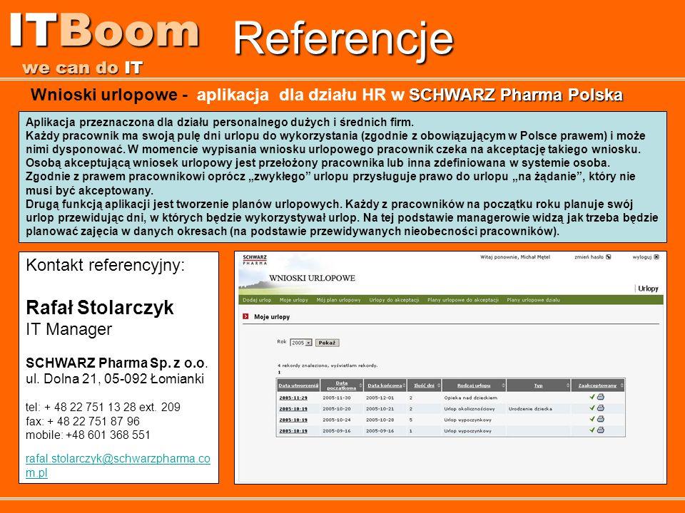 Referencje ITBoom we can do IT Aplikacja przeznaczona dla działu personalnego dużych i średnich firm. Każdy pracownik ma swoją pulę dni urlopu do wyko