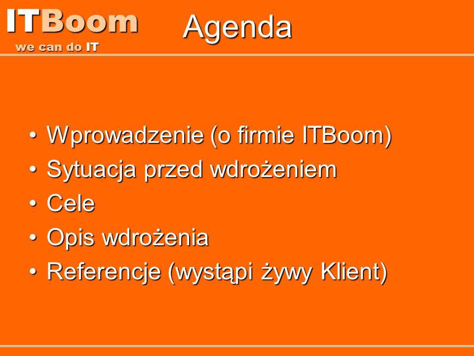 ITBoom we can do IT Agenda Wprowadzenie (o firmie ITBoom)Wprowadzenie (o firmie ITBoom) Sytuacja przed wdrożeniemSytuacja przed wdrożeniem CeleCele Op