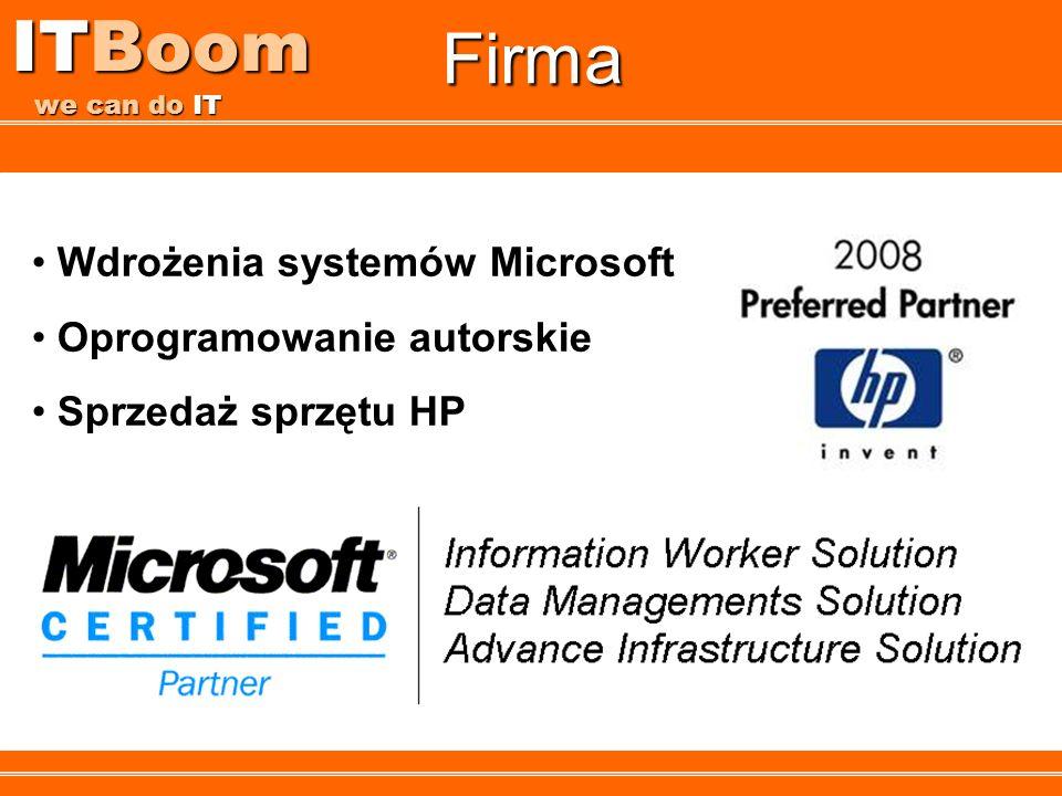 ITBoom we can do IT Firma Wdrożenia systemów Microsoft Oprogramowanie autorskie Sprzedaż sprzętu HP