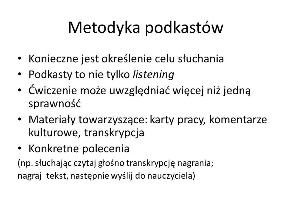 Metodyka podkastów Konieczne jest określenie celu słuchania Podkasty to nie tylko listening Ćwiczenie może uwzględniać więcej niż jedną sprawność Mate