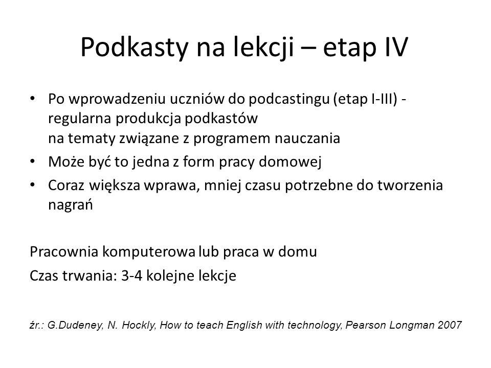 Podkasty na lekcji – etap IV Po wprowadzeniu uczniów do podcastingu (etap I-III) - regularna produkcja podkastów na tematy związane z programem naucza
