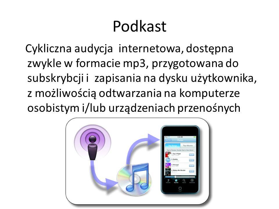 Podkast Cykliczna audycja internetowa, dostępna zwykle w formacie mp3, przygotowana do subskrybcji i zapisania na dysku użytkownika, z możliwością odt