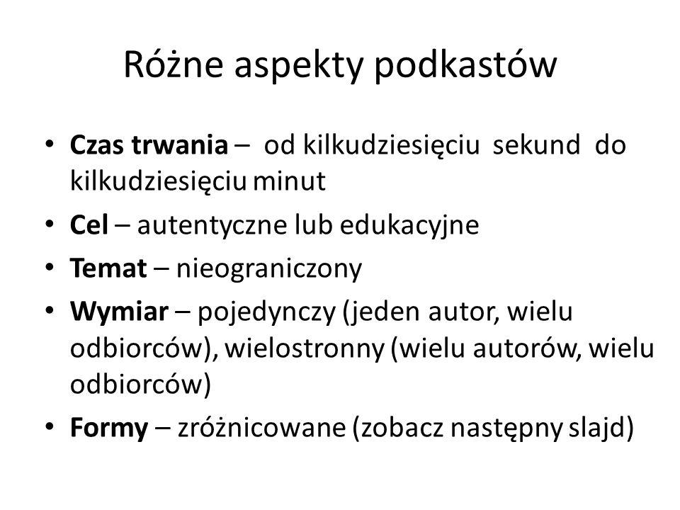 Różne aspekty podkastów Czas trwania – od kilkudziesięciu sekund do kilkudziesięciu minut Cel – autentyczne lub edukacyjne Temat – nieograniczony Wymi