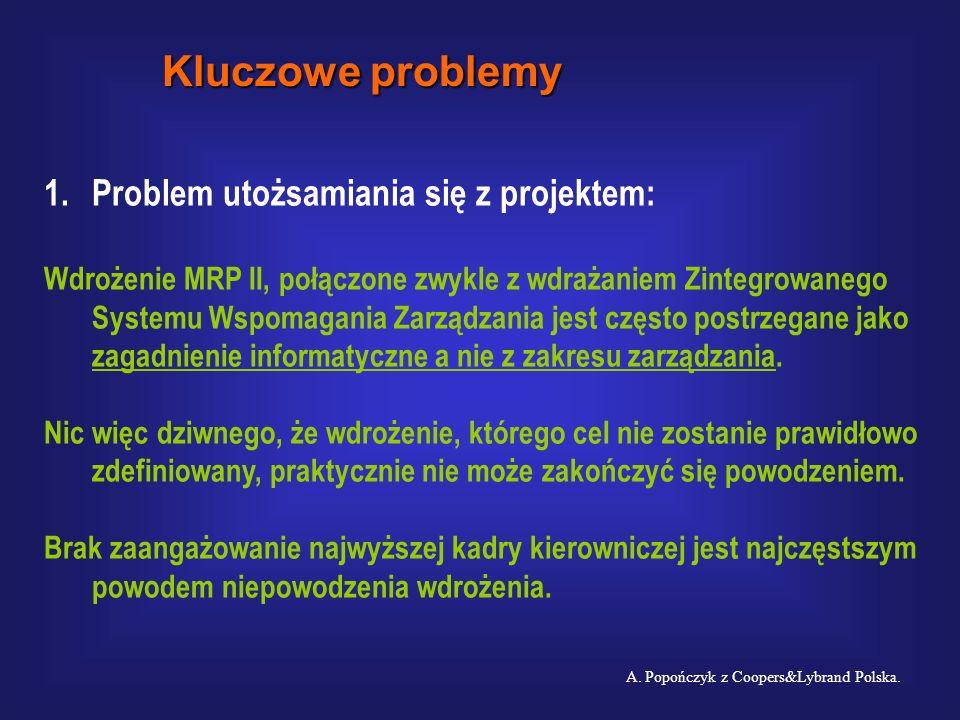 Czynniki warunkujące powodzenie lub porażkę wdrażania ERP: U.Esser, A. Krammer: