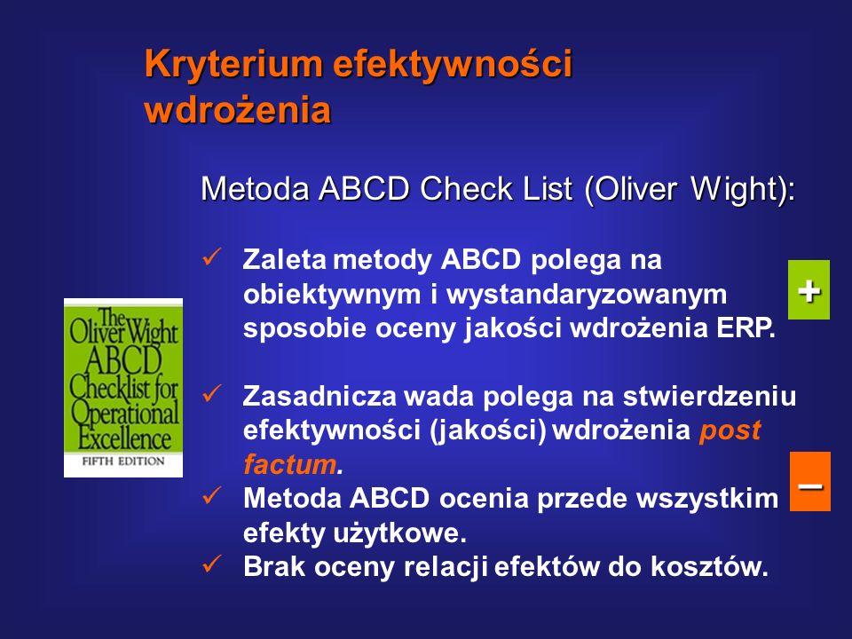 Metoda ABCD Check List (Oliver Wight): http://media.wiley.com Kryterium efektywności wdrożenia