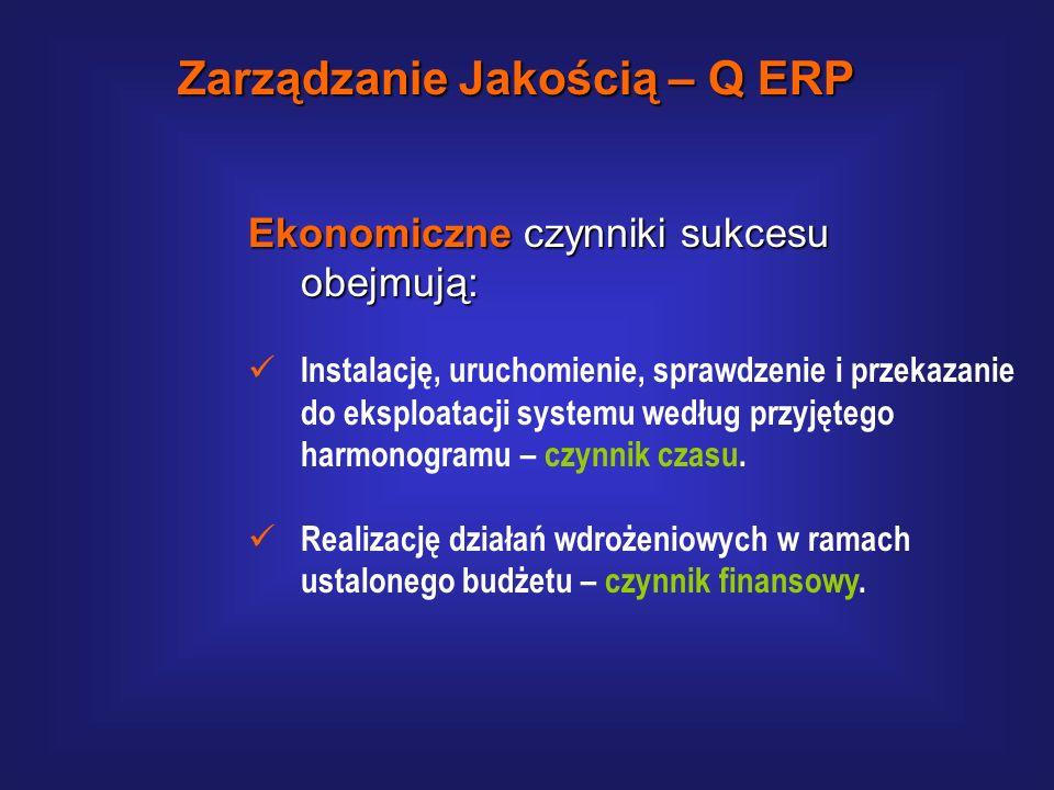 Techniczne czynniki sukcesu obejmują: Instalację, uruchomienie, sprawdzenie i przekazanie do eksploatacji systemu według przyjętego w umowie zakresu f