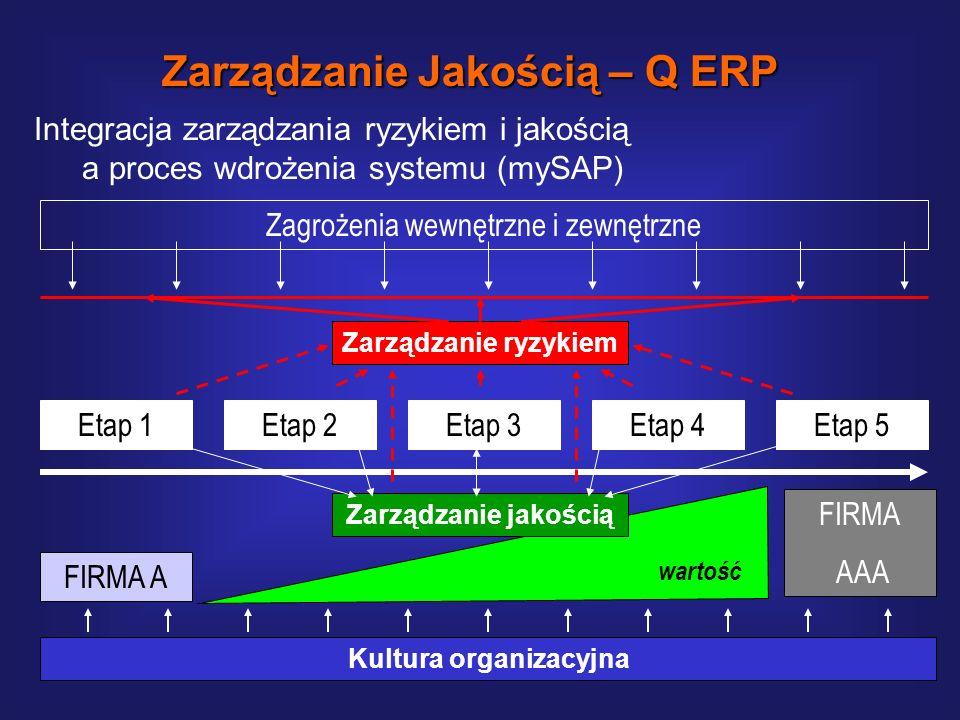 Kluczowe czynniki sukcesu Zarządzanie Jakością – Q ERP Jakość organizacja Technologia Ekonomia Kultura