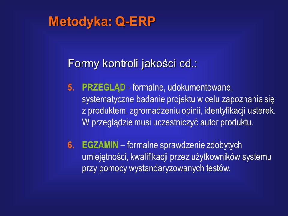 Formy kontroli jakości cd.: 3. RECENZJ A - ocena dokumentów projektu dokonywana indywidualnie przez Kierownika Jakości, lub osobę przeszkoloną, na pod
