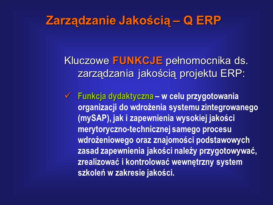 Kluczowe FUNKCJE pełnomocnika ds. zarządzania jakością projektu ERP: Funkcja kontrolna Funkcja kontrolna – w celu zapewnienia zgodności przyjętych zał