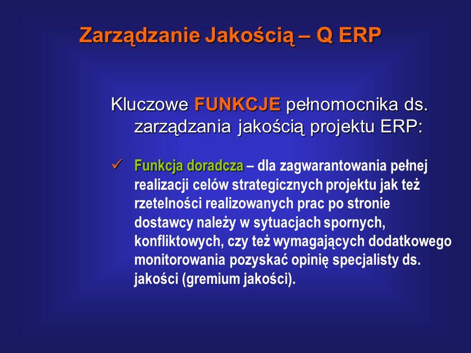 Kluczowe FUNKCJE pełnomocnika ds. zarządzania jakością projektu ERP: Funkcja dydaktyczna Funkcja dydaktyczna – w celu przygotowania organizacji do wdr