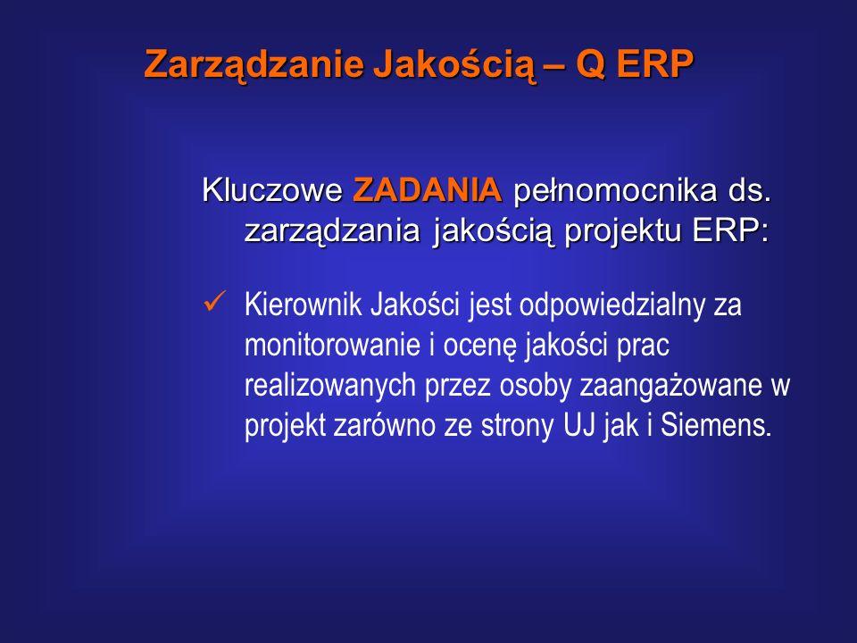 Kluczowe FUNKCJE pełnomocnika ds. zarządzania jakością projektu ERP: Funkcja informacyjna Funkcja informacyjna – w celu zapewnienia rzetelnej informac