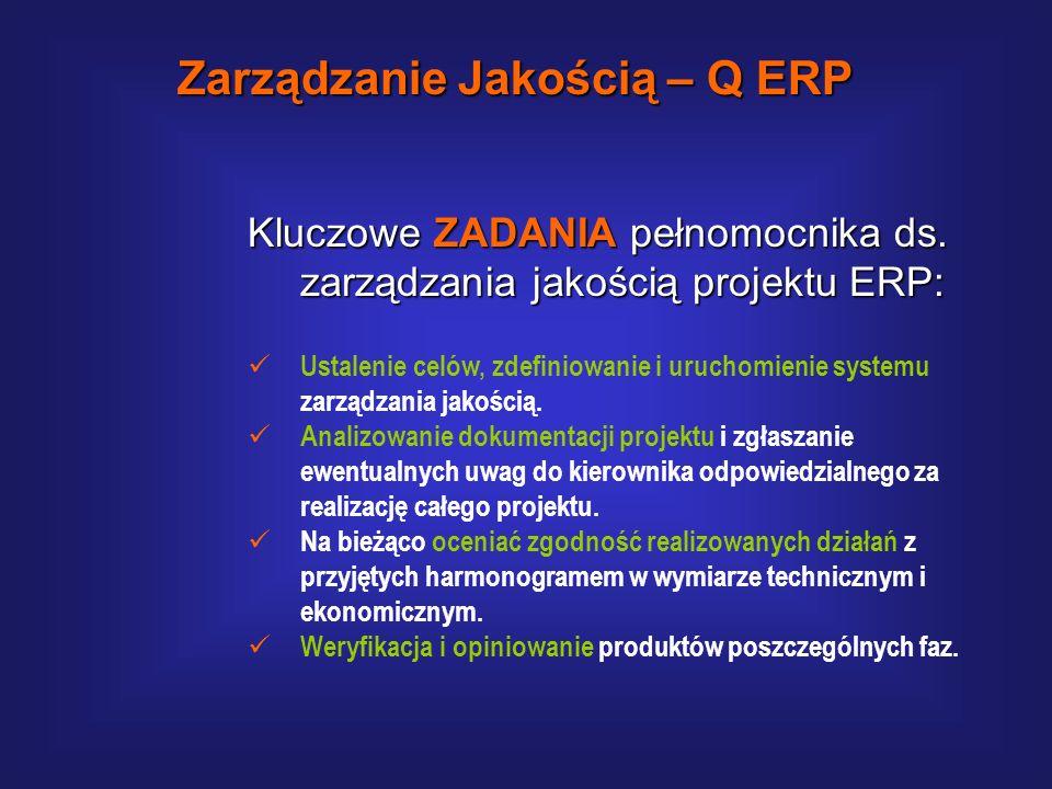 Kluczowe ZADANIA pełnomocnika ds. zarządzania jakością projektu ERP: Kierownik Jakości jest odpowiedzialny za monitorowanie i ocenę jakości prac reali