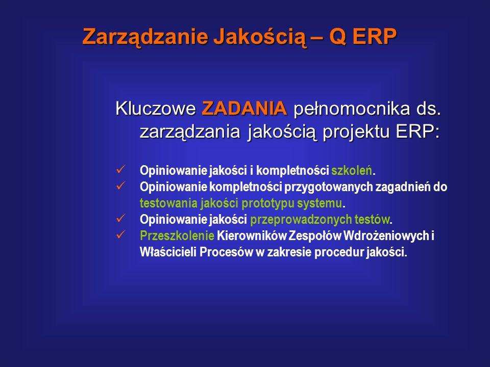 Kluczowe ZADANIA pełnomocnika ds. zarządzania jakością projektu ERP: Ustalenie celów, zdefiniowanie i uruchomienie systemu zarządzania jakością. Anali