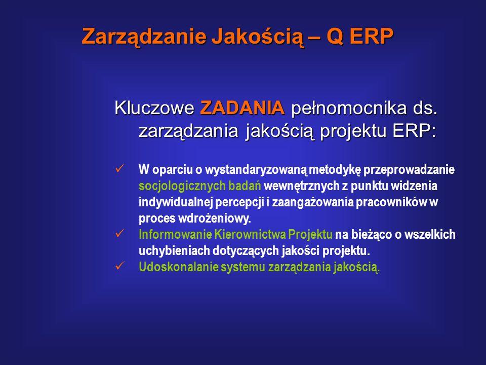 Kluczowe ZADANIA pełnomocnika ds. zarządzania jakością projektu ERP: Opiniowanie jakości i kompletności szkoleń. Opiniowanie kompletności przygotowany