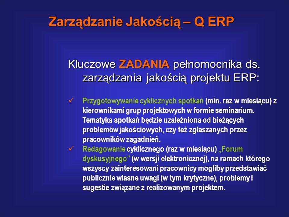 Kluczowe ZADANIA pełnomocnika ds. zarządzania jakością projektu ERP: W oparciu o wystandaryzowaną metodykę przeprowadzanie socjologicznych badań wewnę
