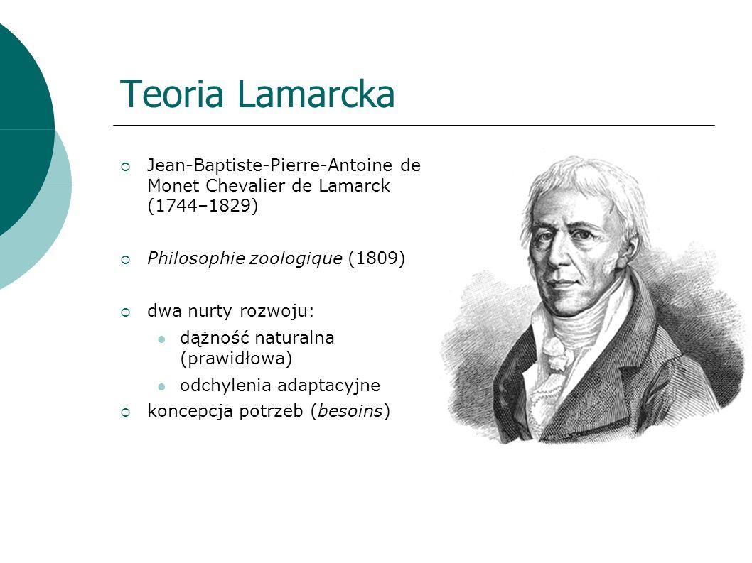 Teoria Lamarcka Jean-Baptiste-Pierre-Antoine de Monet Chevalier de Lamarck (1744–1829) Philosophie zoologique (1809) dwa nurty rozwoju: dążność naturalna (prawidłowa) odchylenia adaptacyjne koncepcja potrzeb (besoins)