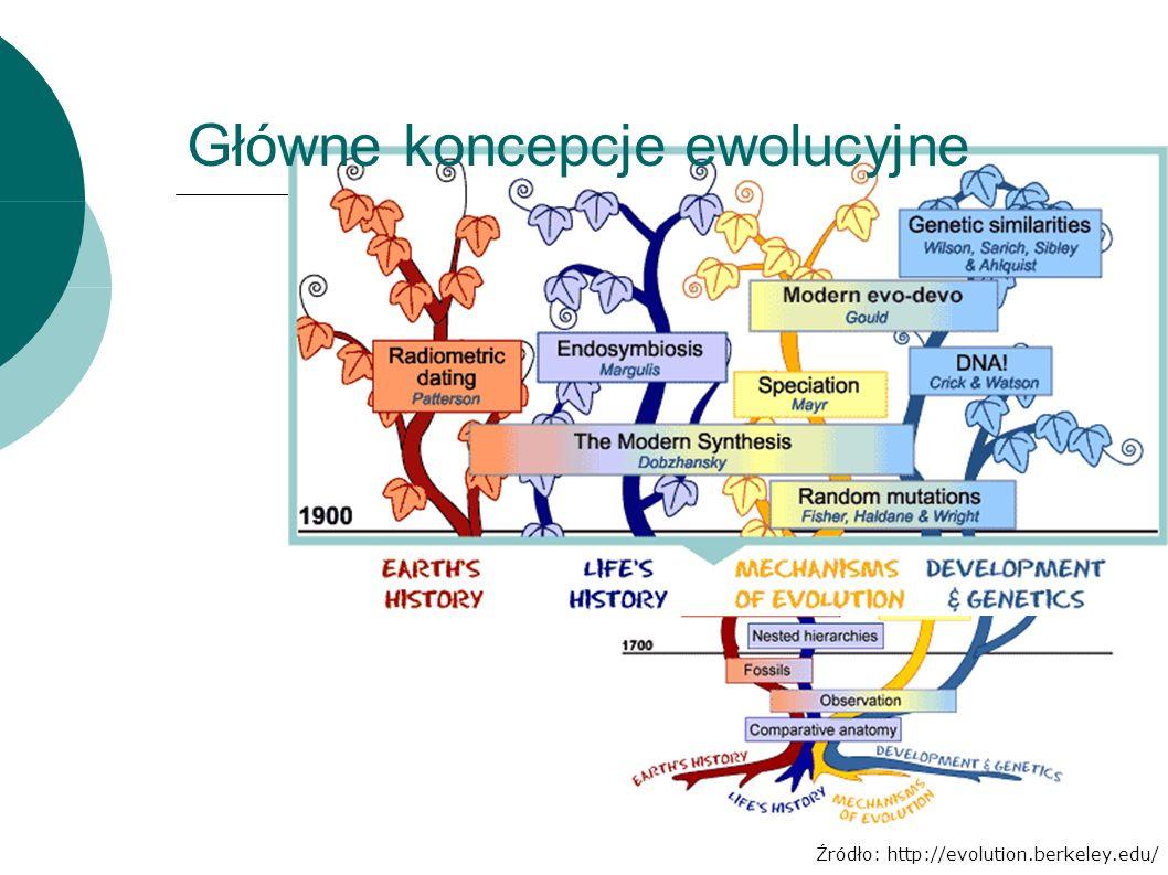 Źródło: http://evolution.berkeley.edu/ Główne koncepcje ewolucyjne