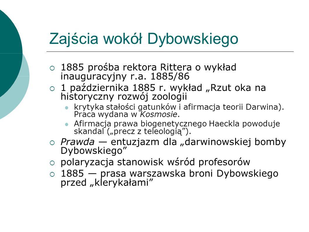 Zajścia wokół Dybowskiego 1885 prośba rektora Rittera o wykład inauguracyjny r.a.