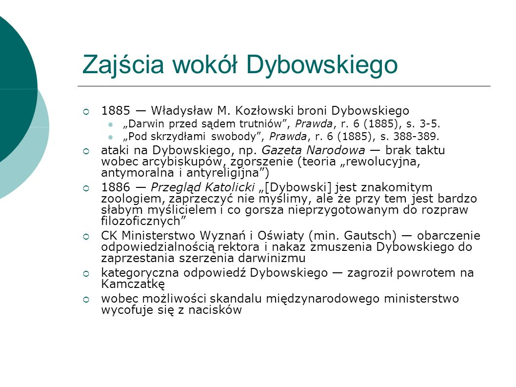 Zajścia wokół Dybowskiego 1885 Władysław M.