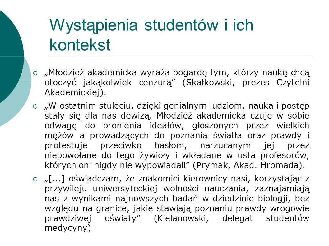 Wystąpienia studentów i ich kontekst Młodzież akademicka wyraża pogardę tym, którzy naukę chcą otoczyć jakąkolwiek cenzurą (Skałkowski, prezes Czytelni Akademickiej).