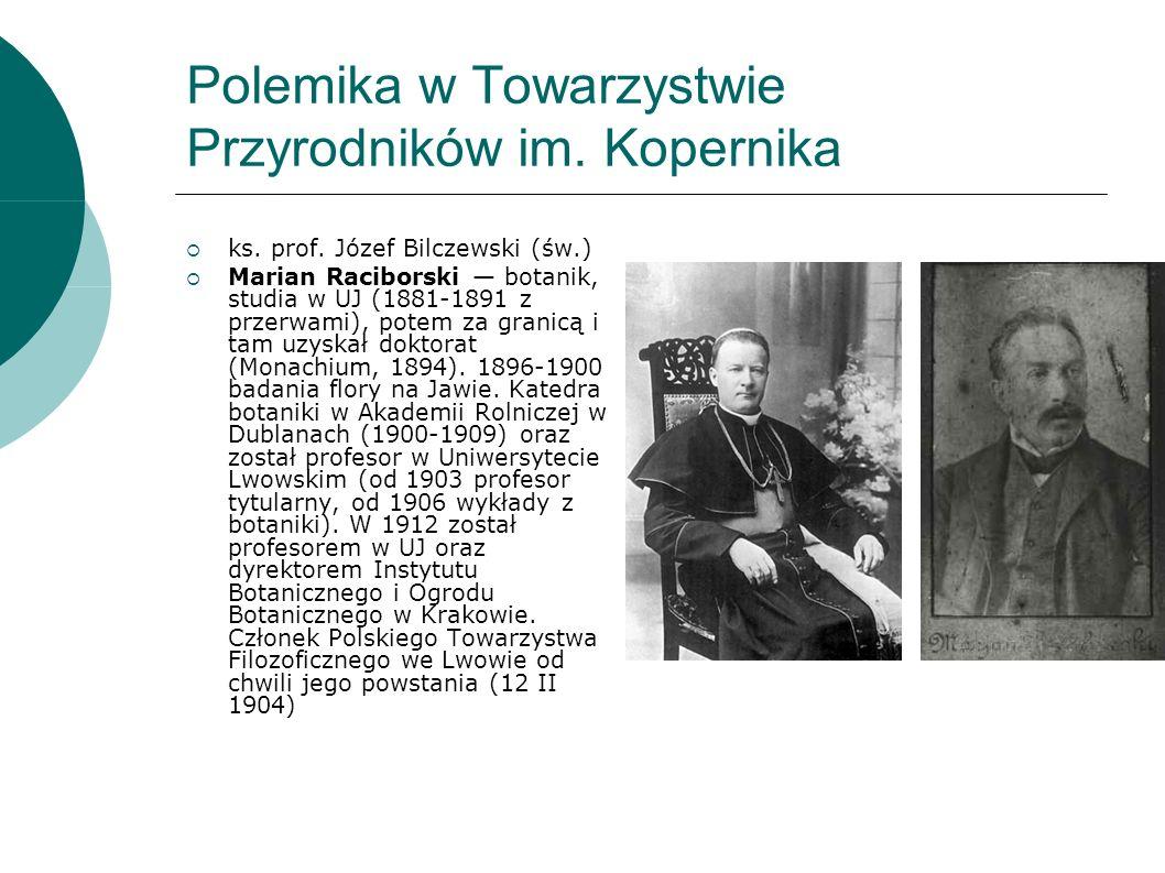 Polemika w Towarzystwie Przyrodników im. Kopernika ks.