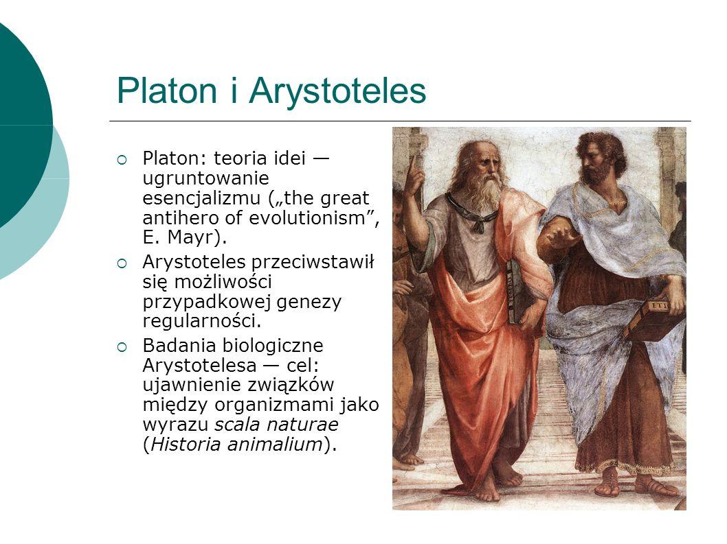 Platon i Arystoteles Platon: teoria idei ugruntowanie esencjalizmu (the great antihero of evolutionism, E.