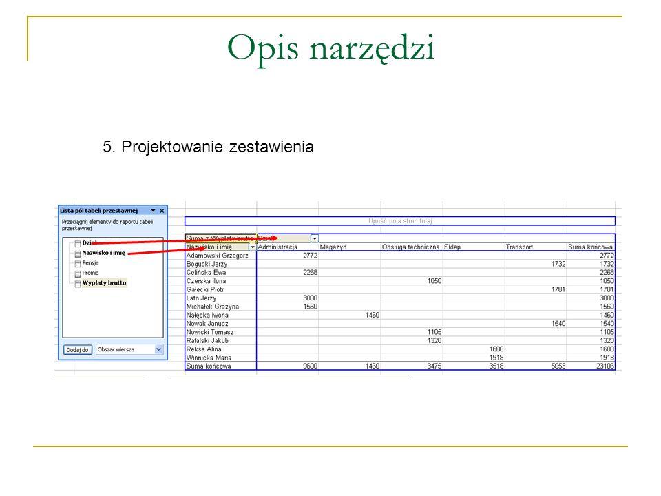 Opis narzędzi 5. Projektowanie zestawienia