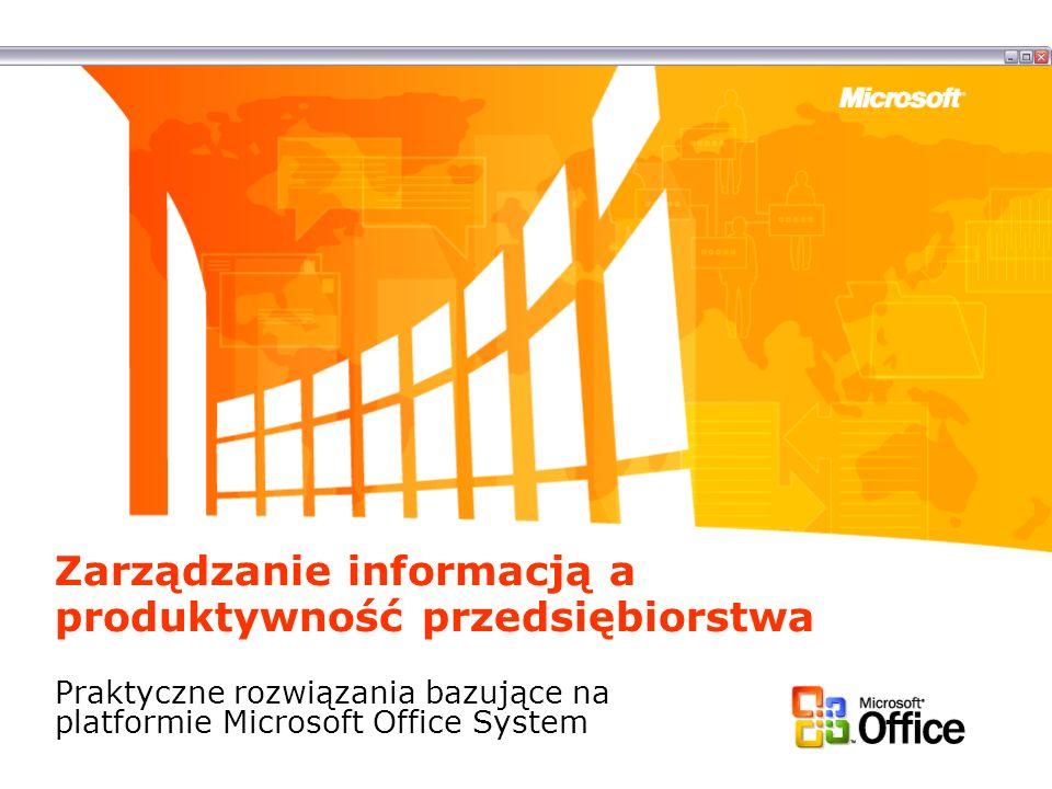 Zarządzanie informacją a produktywność przedsiębiorstwa Praktyczne rozwiązania bazujące na platformie Microsoft Office System