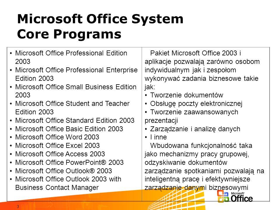 3 Microsoft Office System Core Programs Microsoft Office Professional Edition 2003 Microsoft Office Professional Enterprise Edition 2003 Microsoft Off
