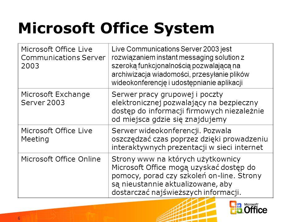 6 Microsoft Office System Microsoft Office Live Communications Server 2003 Live Communications Server 2003 jest rozwiązaniem instant messaging solutio