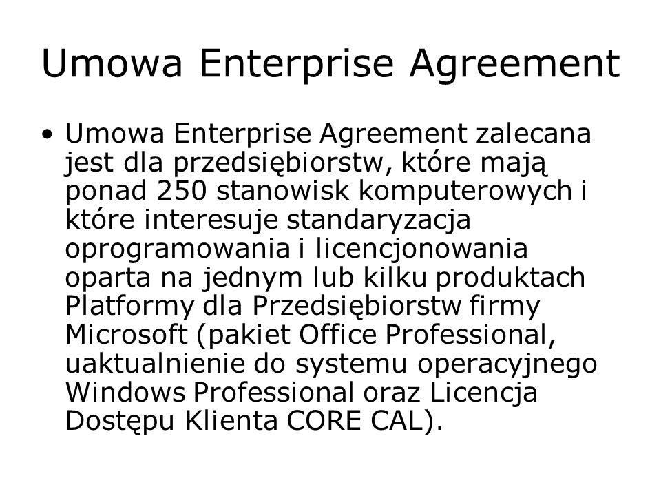 Umowa Enterprise Agreement Umowa Enterprise Agreement zalecana jest dla przedsiębiorstw, które mają ponad 250 stanowisk komputerowych i które interesu
