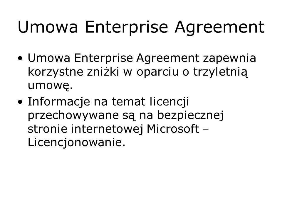 Umowa Enterprise Agreement Umowa Enterprise Agreement zapewnia korzystne zniżki w oparciu o trzyletnią umowę. Informacje na temat licencji przechowywa