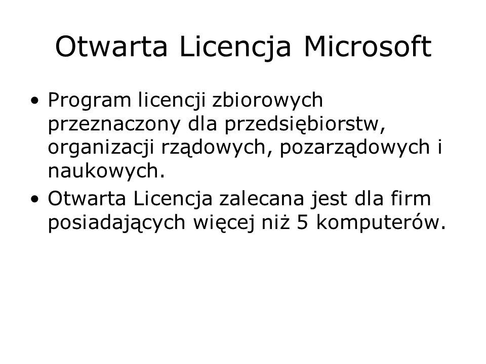 Otwarta Licencja Microsoft Program licencji zbiorowych przeznaczony dla przedsiębiorstw, organizacji rządowych, pozarządowych i naukowych. Otwarta Lic