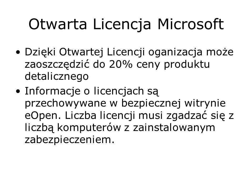 Otwarta Licencja Microsoft Dzięki Otwartej Licencji oganizacja może zaoszczędzić do 20% ceny produktu detalicznego Informacje o licencjach są przechow