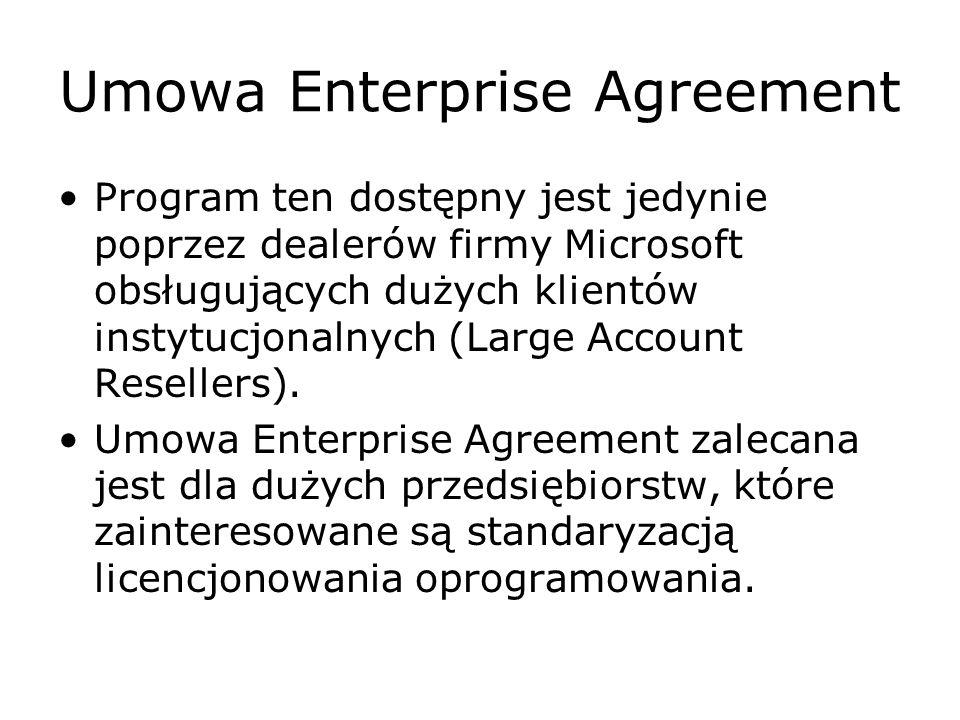 Umowa Enterprise Agreement Umowa Enterprise Agreement zalecana jest dla przedsiębiorstw, które mają ponad 250 stanowisk komputerowych i które interesuje standaryzacja oprogramowania i licencjonowania oparta na jednym lub kilku produktach Platformy dla Przedsiębiorstw firmy Microsoft (pakiet Office Professional, uaktualnienie do systemu operacyjnego Windows Professional oraz Licencja Dostępu Klienta CORE CAL).