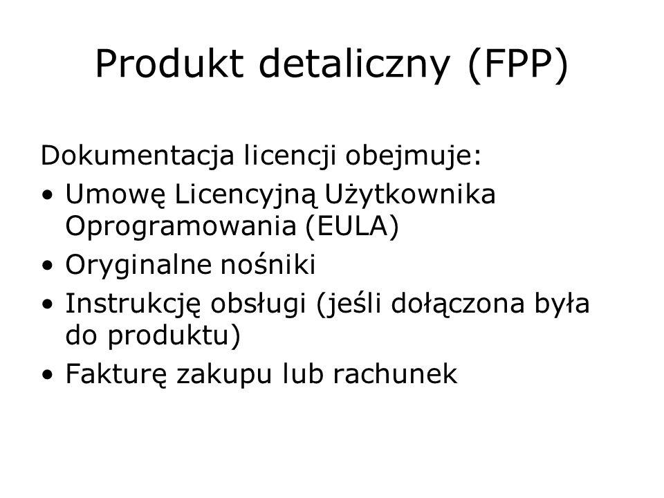 Produkt detaliczny (FPP) Dokumentacja licencji obejmuje: Umowę Licencyjną Użytkownika Oprogramowania (EULA) Oryginalne nośniki Instrukcję obsługi (jeś