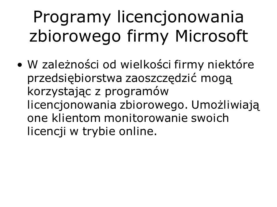 Programy licencjonowania zbiorowego firmy Microsoft Otwarta Licencja Microsoft (Licencja Open)* jest najbardziej odpowiednia dla firm potrzebujących pięć lub więcej licencji.