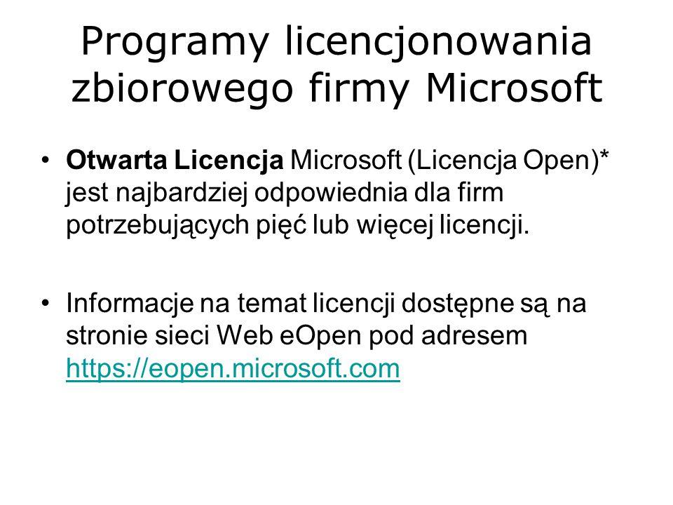 Programy licencjonowania zbiorowego firmy Microsoft Otwarta Licencja Microsoft (Licencja Open)* jest najbardziej odpowiednia dla firm potrzebujących p