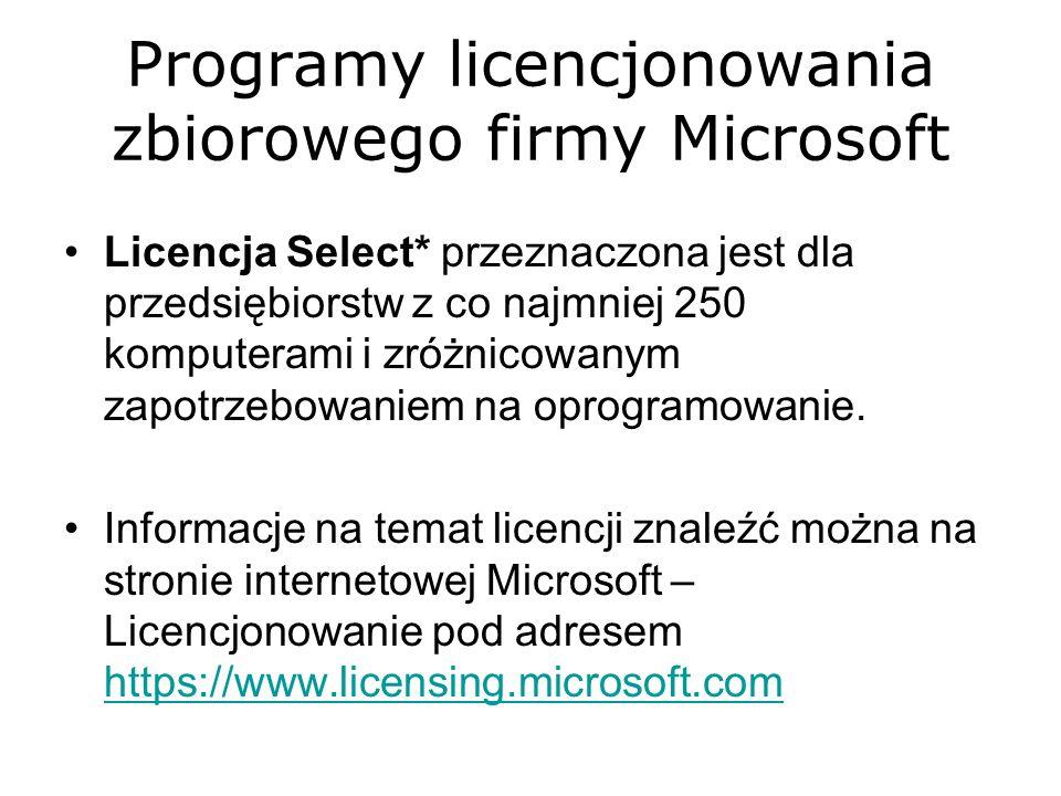 Programy licencjonowania zbiorowego firmy Microsoft Licencja Select* przeznaczona jest dla przedsiębiorstw z co najmniej 250 komputerami i zróżnicowan