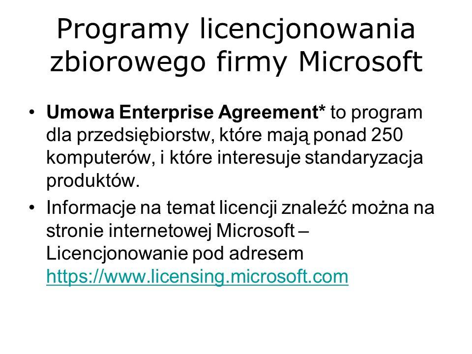 Programy licencjonowania zbiorowego firmy Microsoft Umowa Enterprise Agreement* to program dla przedsiębiorstw, które mają ponad 250 komputerów, i któ