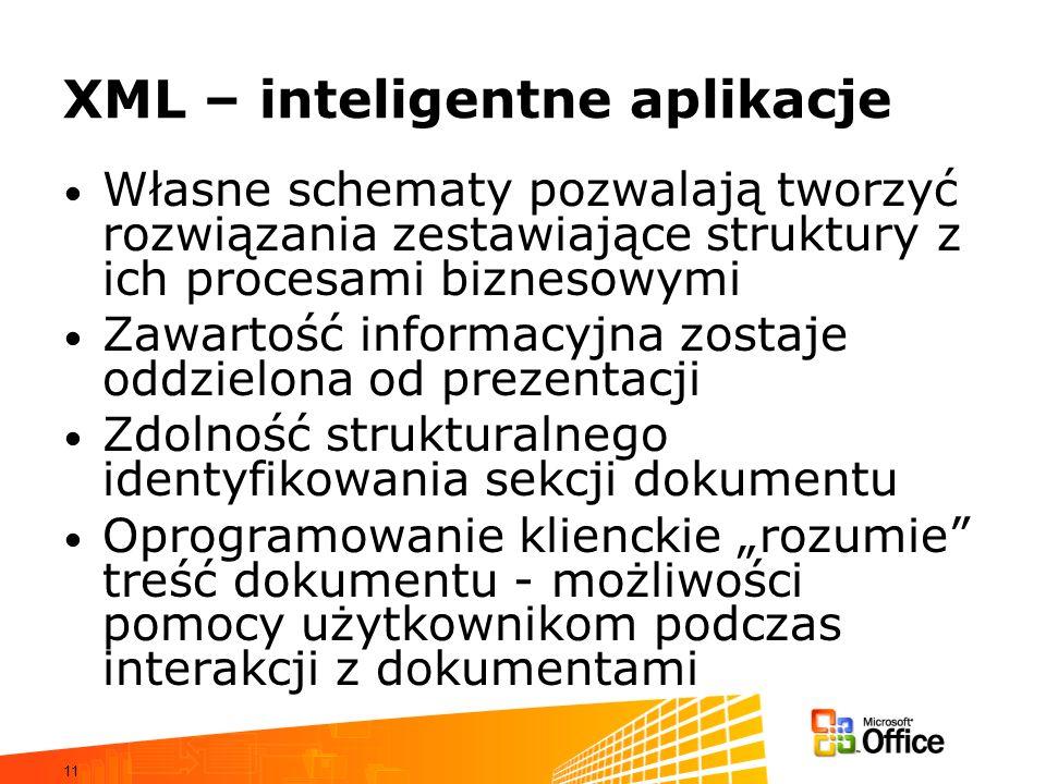 11 XML – inteligentne aplikacje Własne schematy pozwalają tworzyć rozwiązania zestawiające struktury z ich procesami biznesowymi Zawartość informacyjna zostaje oddzielona od prezentacji Zdolność strukturalnego identyfikowania sekcji dokumentu Oprogramowanie klienckie rozumie treść dokumentu - możliwości pomocy użytkownikom podczas interakcji z dokumentami