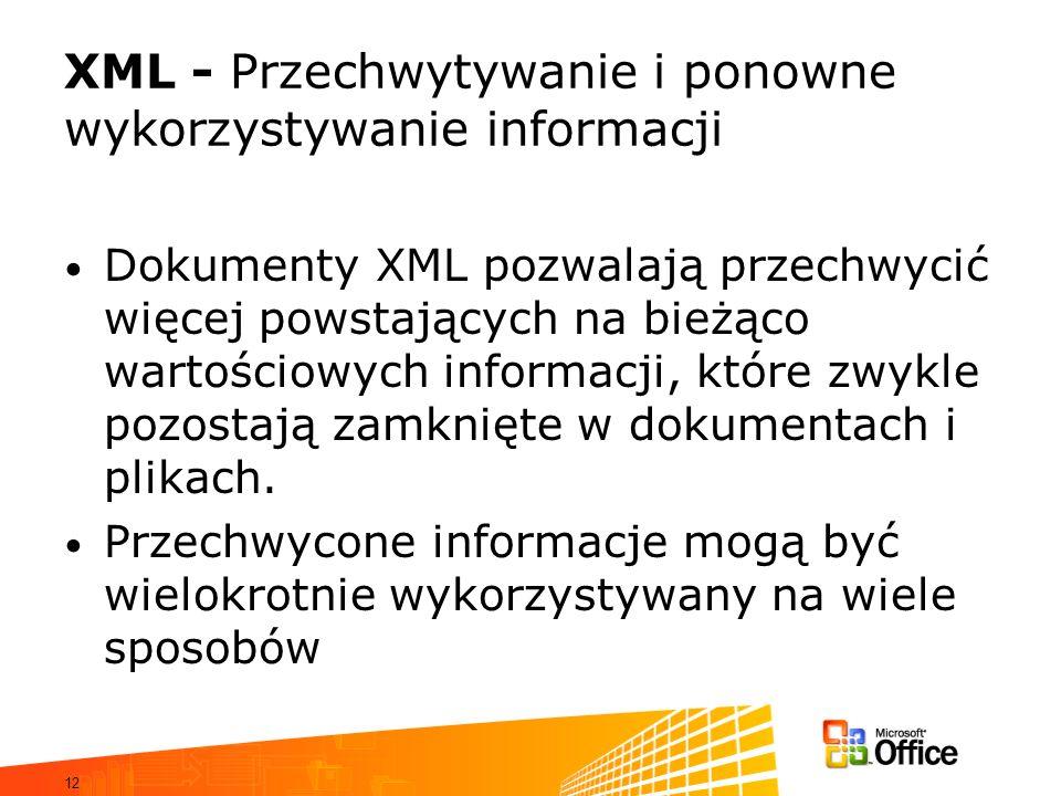 12 XML - Przechwytywanie i ponowne wykorzystywanie informacji Dokumenty XML pozwalają przechwycić więcej powstających na bieżąco wartościowych informacji, które zwykle pozostają zamknięte w dokumentach i plikach.