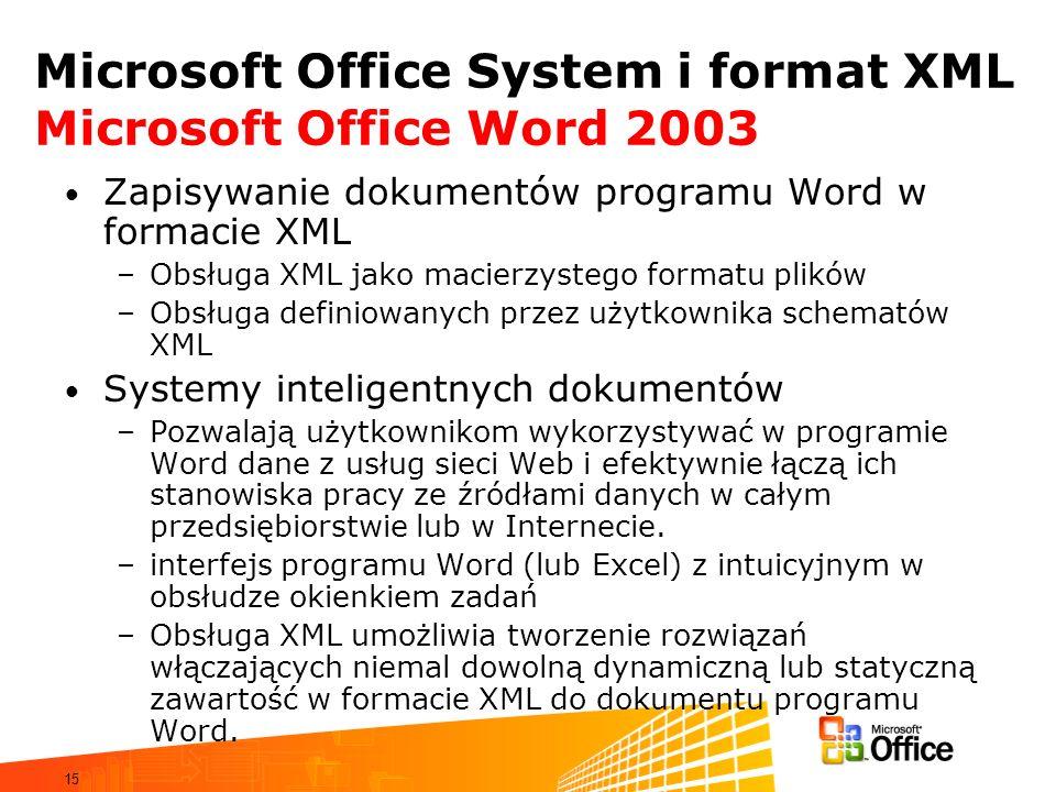 15 Microsoft Office System i format XML Microsoft Office Word 2003 Zapisywanie dokumentów programu Word w formacie XML –Obsługa XML jako macierzystego formatu plików –Obsługa definiowanych przez użytkownika schematów XML Systemy inteligentnych dokumentów –Pozwalają użytkownikom wykorzystywać w programie Word dane z usług sieci Web i efektywnie łączą ich stanowiska pracy ze źródłami danych w całym przedsiębiorstwie lub w Internecie.