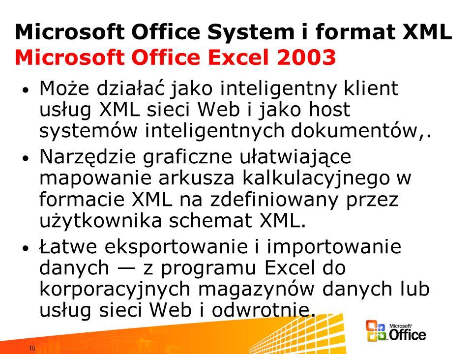 16 Microsoft Office System i format XML Microsoft Office Excel 2003 Może działać jako inteligentny klient usług XML sieci Web i jako host systemów inteligentnych dokumentów,.