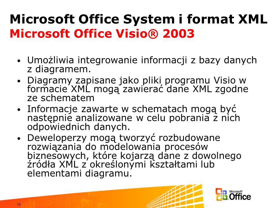 19 Microsoft Office System i format XML Microsoft Office Visio® 2003 Umożliwia integrowanie informacji z bazy danych z diagramem. Diagramy zapisane ja