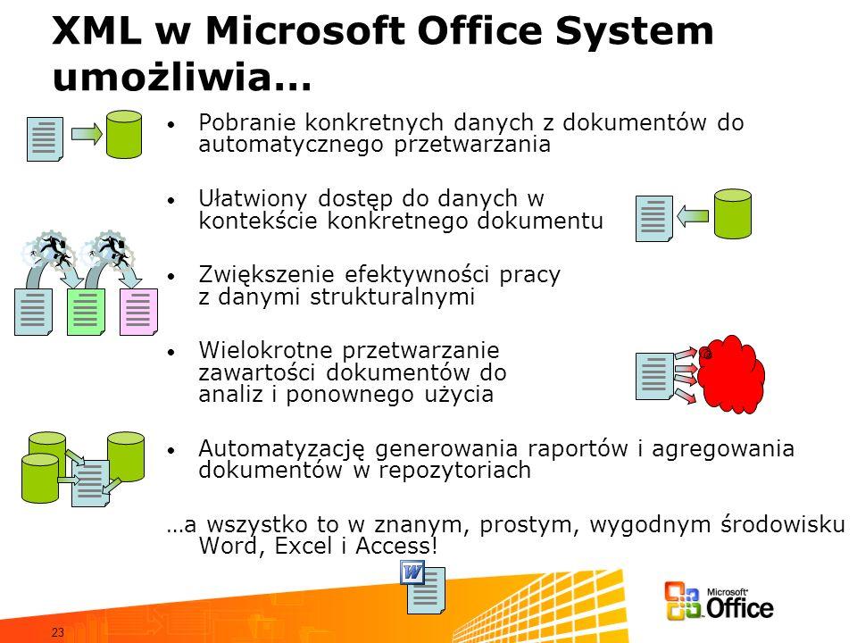 23 XML w Microsoft Office System umożliwia… Pobranie konkretnych danych z dokumentów do automatycznego przetwarzania Ułatwiony dostęp do danych w kontekście konkretnego dokumentu Zwiększenie efektywności pracy z danymi strukturalnymi Wielokrotne przetwarzanie zawartości dokumentów do analiz i ponownego użycia Automatyzację generowania raportów i agregowania dokumentów w repozytoriach …a wszystko to w znanym, prostym, wygodnym środowisku Word, Excel i Access!