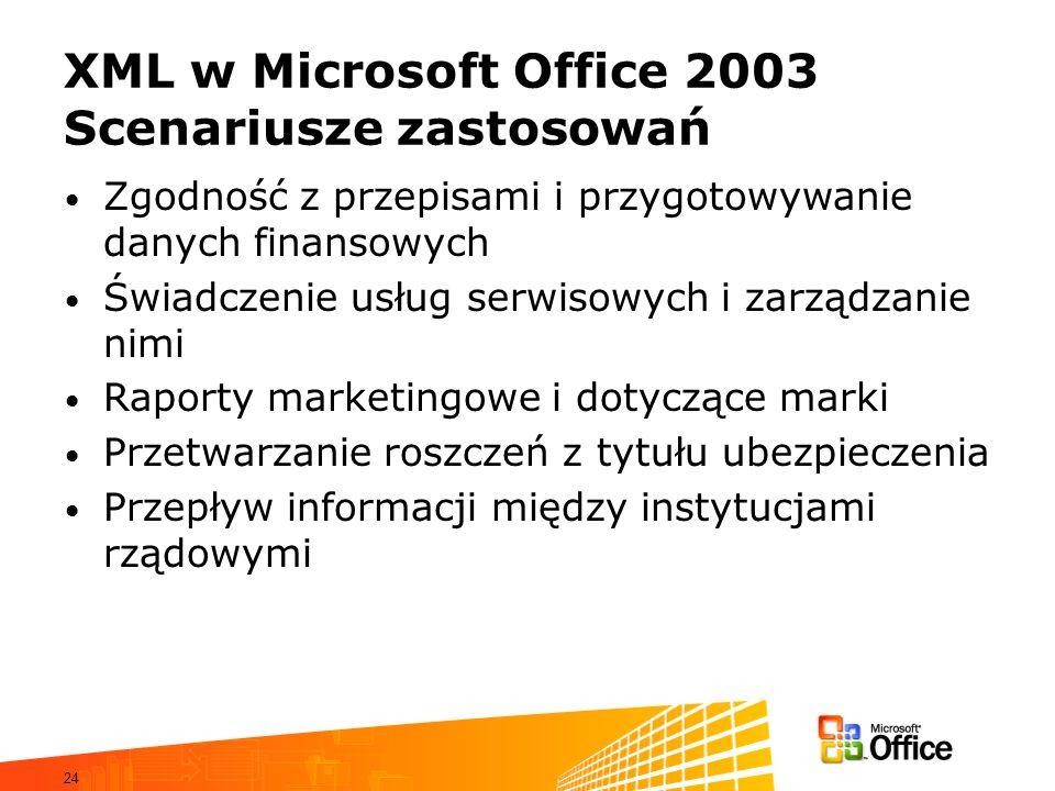 24 XML w Microsoft Office 2003 Scenariusze zastosowań Zgodność z przepisami i przygotowywanie danych finansowych Świadczenie usług serwisowych i zarządzanie nimi Raporty marketingowe i dotyczące marki Przetwarzanie roszczeń z tytułu ubezpieczenia Przepływ informacji między instytucjami rządowymi