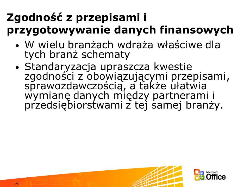 25 Zgodność z przepisami i przygotowywanie danych finansowych W wielu branżach wdraża właściwe dla tych branż schematy Standaryzacja upraszcza kwestie